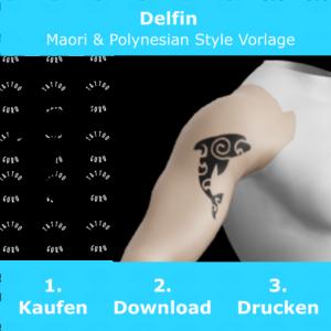 Delfin Maori Polynesian Tattoo Vorlage