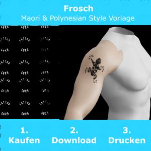 Frosch Maori Polynesian Tattoo Vorlage
