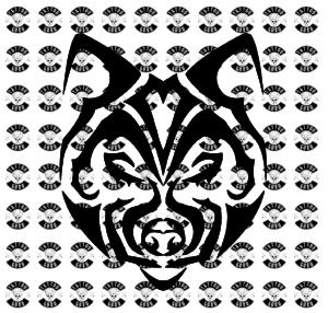 Tattoo Wolfskopf Tribal minimalistisch schwarz Preview