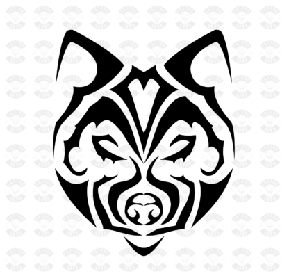 Tattoo Wolfskopf Tribal minimalistisch schwarz Preview