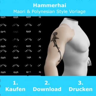 Hammerhai Maori Polynesian Tattoo Vorlage