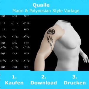 Qualle Maori Polynesian Tattoo Vorlage