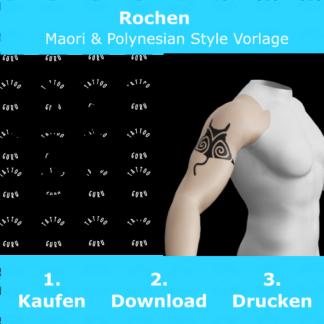 Rochen Maori Polynesian Tattoo Vorlage
