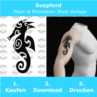 Seepferd Maori Polynesian Tattoo Vorlage