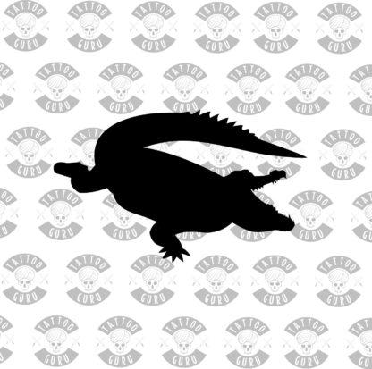 Tattoo aligator crocodile black