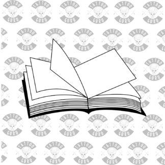 Book tattoo black solhouette