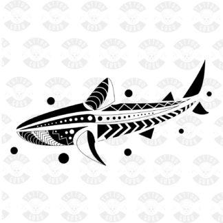 Tattoo maori polynesian shark