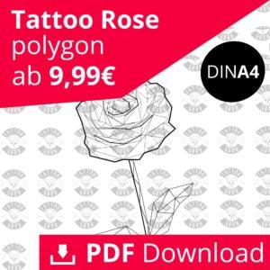 Tattoo Rose Polygon Linework Schwarz