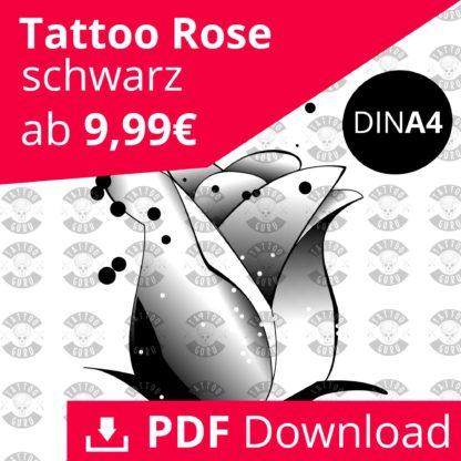 Tattoo Rose schwarz