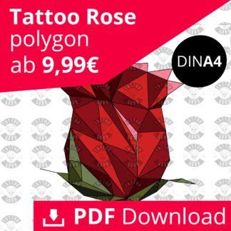 Tattoo Rose Blüte Polygon Farbig