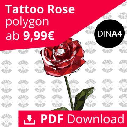 Tattoo Rose Polygon Farbig