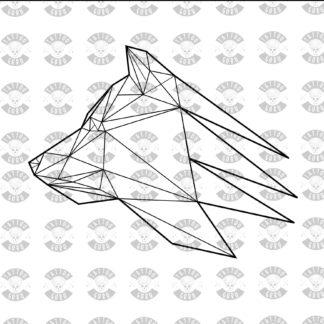 Tattoo Wolf Kopf Seite Polygon schwarz